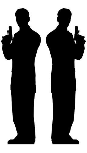285x500 Pack 2 Secret Agent Man Silhouette James Bond Cutout Partyrama