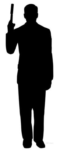 197x488 Secret Agent Spy With Gun Silhouette Spy, Guns And Silhouettes