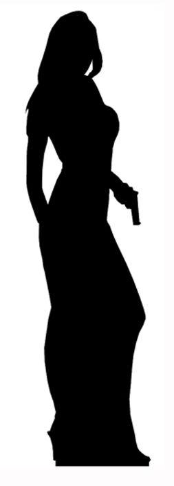 253x703 Secret Agent Woman Silhouette Lifesize Cardboard Cutout