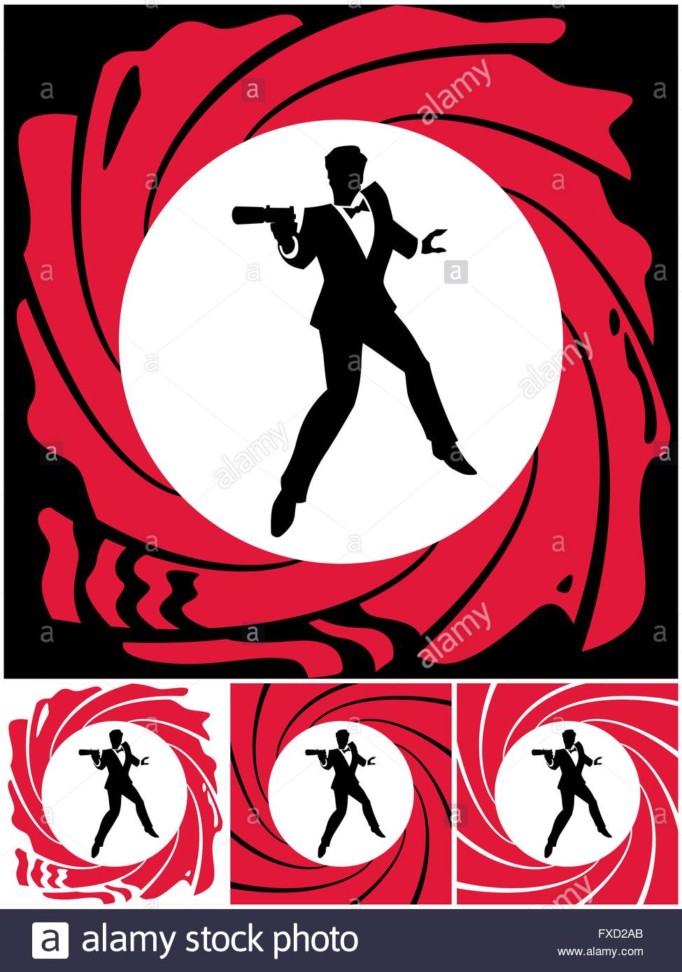 975x1390 Silhouette Of Secret Agent. No Transparency And Gradients Used