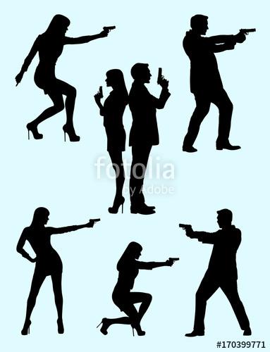 383x500 Detective, Police, Security, Secret Agent Gesture Silhouette 01