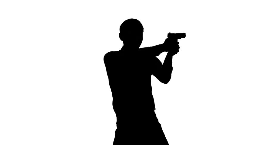852x480 Security Guard Pursues A Man With A Gun In His Hand. Stock Footage