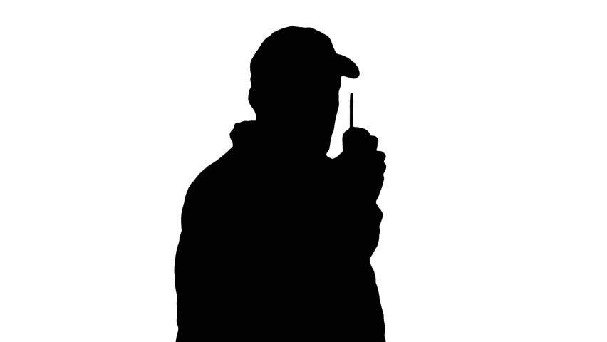 852x480 Silhouette Guard Looks Through Binoculars Stock Footage Video