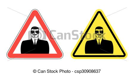 450x251 Warning Sign Of Attention To Spy. Hazard Yellow Sign Secret
