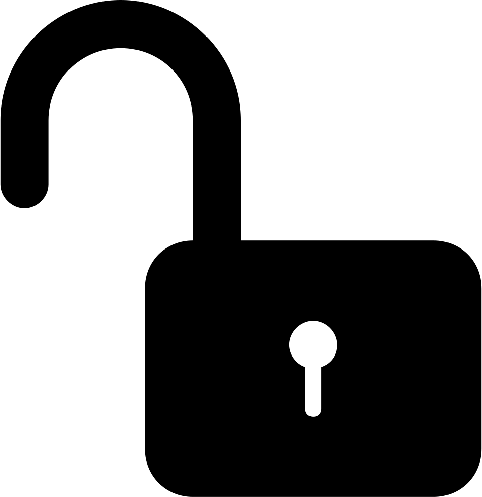 950x980 Unlocked Padlock Silhouette Security Interface Symbol Svg Png Icon