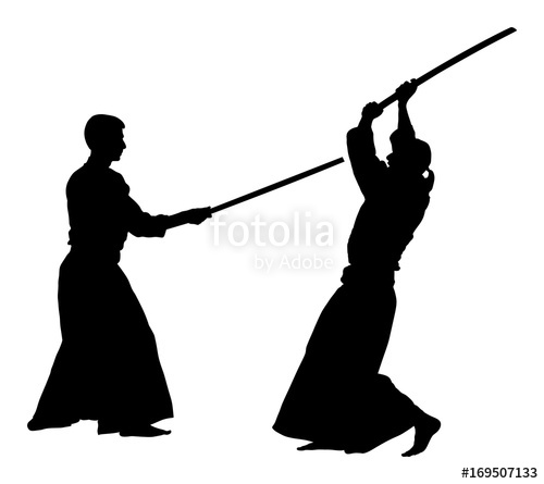 500x445 Fight Between Two Aikido Fighters Vector Silhouette Symbol