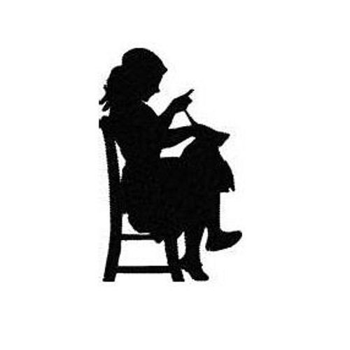 500x500 Girl Sewing Silhouette Machine Embroidery Design