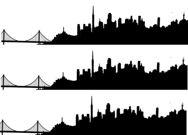 640x458 San Francisco Skyline Silhouette (1) A4 Edible Printed Iced Sheet