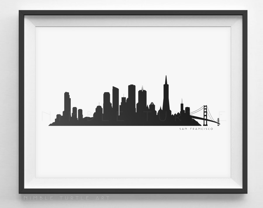 900x711 San Francisco Skyline Silhouette Printable Skyline