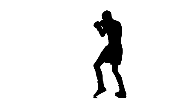 590x332 Silhouette Of Boxer Fights With Shadow. White Background By Kinomaster