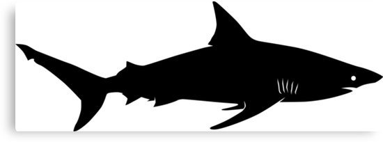 550x204 Blacktip Shark Silhouette (Black) Canvas Prints By