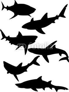 236x313 Printable Shark Silhouette