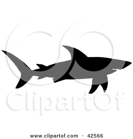 450x470 Clipart Illustration Of A Black Silhouette Of A Swimming Shark By