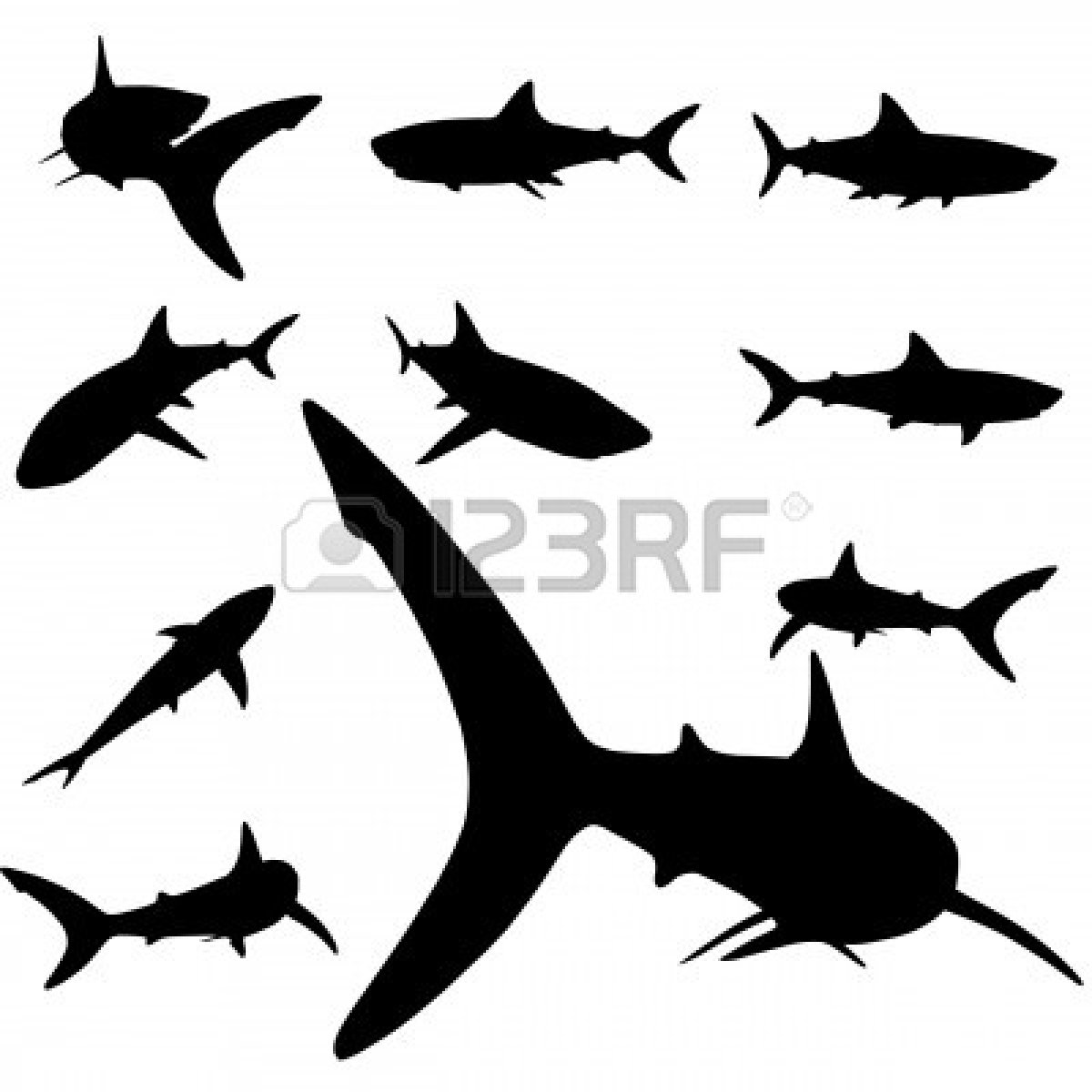 1200x1200 Great White Shark Clipart Silhouette