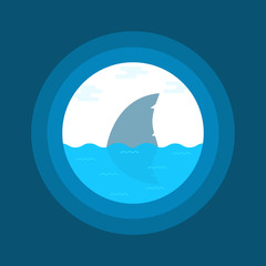 240x240 Simple Thin Line Shark In Wave Icon
