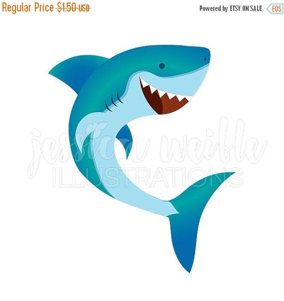 570x604 Happy Shark Cute Digital Clipart, Cute Shark Clip Art, Shark