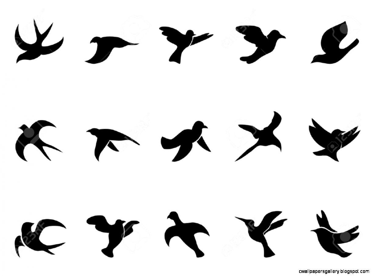 1222x905 Flying Bird Silhouette Tattoo Stencil