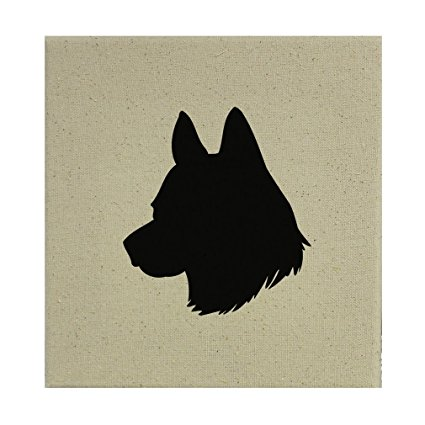 425x425 Stretched Natural Canvas Icelandic Sheepdog Silhouette