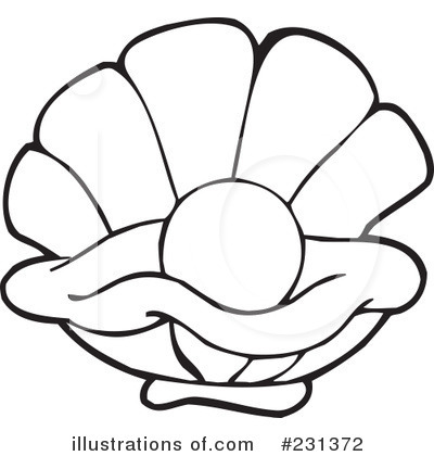 400x420 Clam Shell Silhouette Clipart