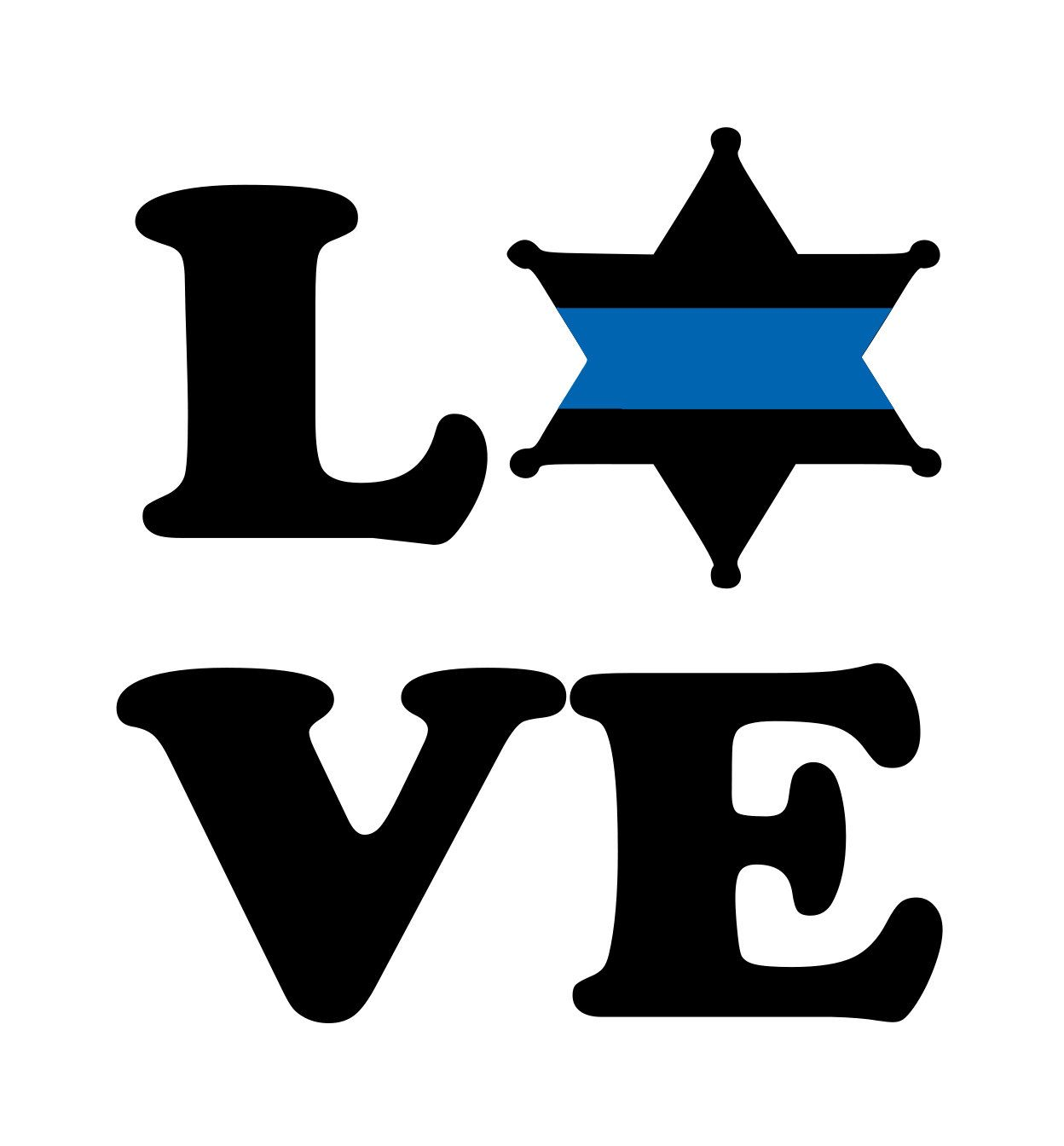 1248x1344 Thin Blue Line Sheriff Star Love Decal, Blue Line Decal, Wife Blue