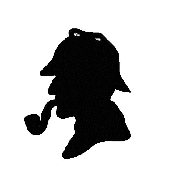 570x605 Sherlock Holmes Silhouette Applique Head. Instant Download