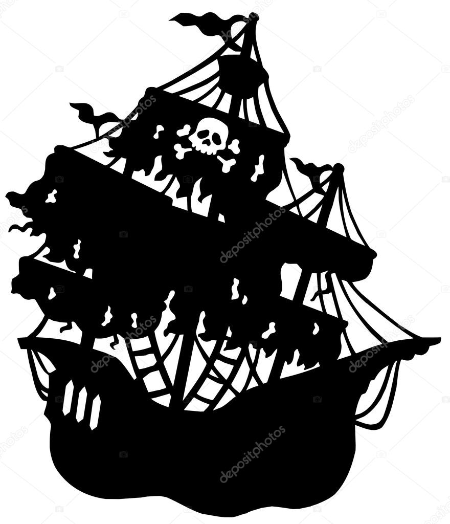 880x1024 Mysterious Pirate Ship Silhouette Stock Vector Clairev 2259309