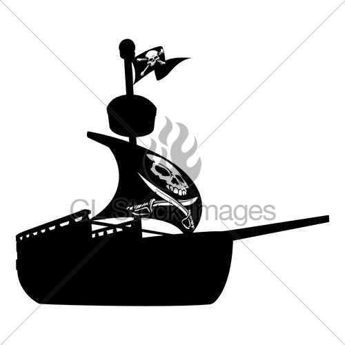 500x500 Pirate Ship Silhouette Gl Stock Images