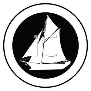 300x300 Free Clipart Image A White Silhouette Of A Ship In A Circle