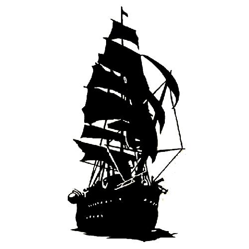 500x500 Pirate Ship Die Cut Vinyl Decal Pv1900