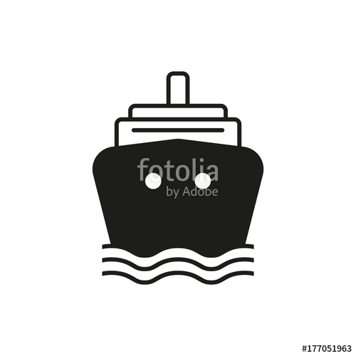 500x500 Ship Simple Icon Silhouette On White Background. Water Transport