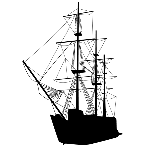600x565 Caravel Sailing Ship Silhouette Vector Art, Vectors