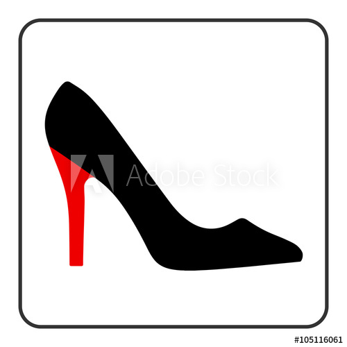 500x500 High Heel Shoes Icon. Elegant Black And Red Silhouette