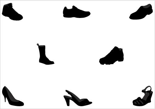 501x352 Shoe Silhouette Vector Graphics Pack