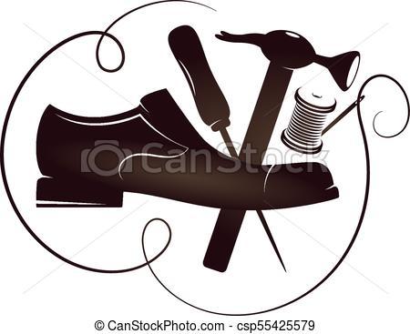 450x367 Shoe Repair Silhouette Vector. Shoe Repair With Tool Vector