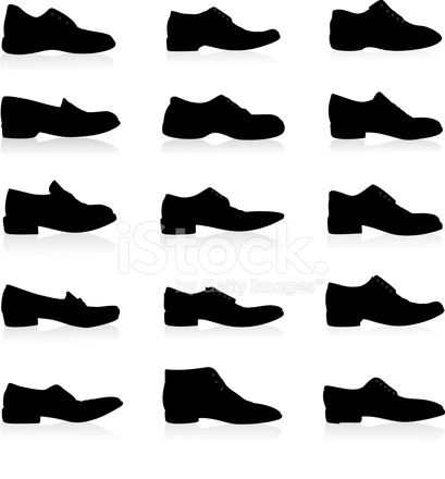 409x440 Shoes Silhouette Stock Vector