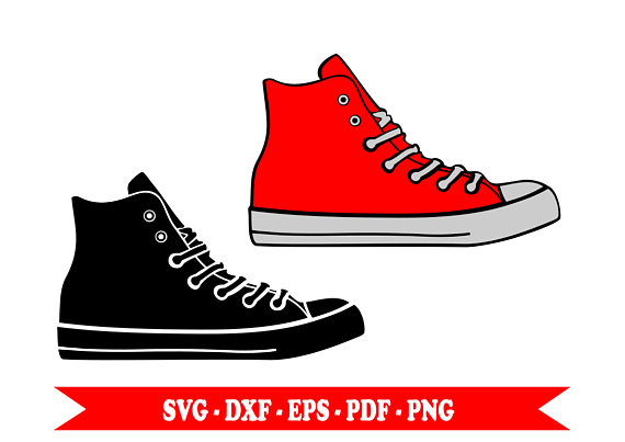 570x403 Svg, Svg, Shoes Sneaker Sneakers Silhouette Clip Art In Svg Format