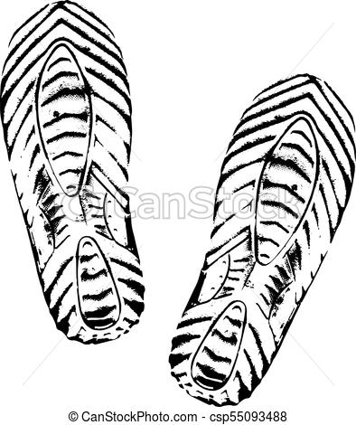 394x470 Footprints Human Shoes Silhouette, White Background Vector