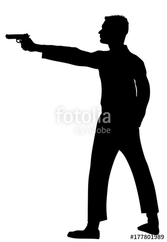 345x500 Public Crime Scene, Gunfight Battle. Man With Gun Shooting Vector