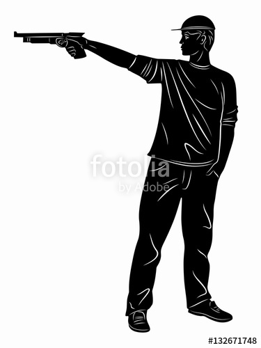 375x500 Silhouette Of A Pistol Shooter. Vector Drawing Stock Image