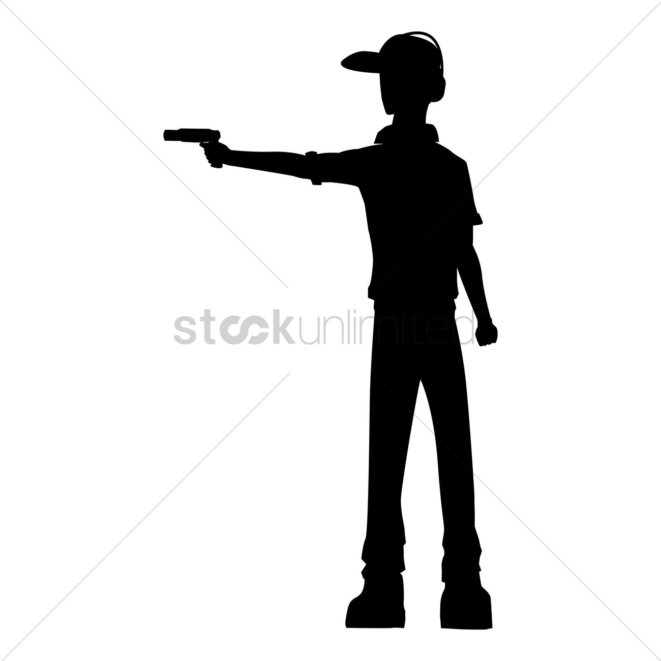 1300x1300 Silhouette Of A Shooter Vector Image