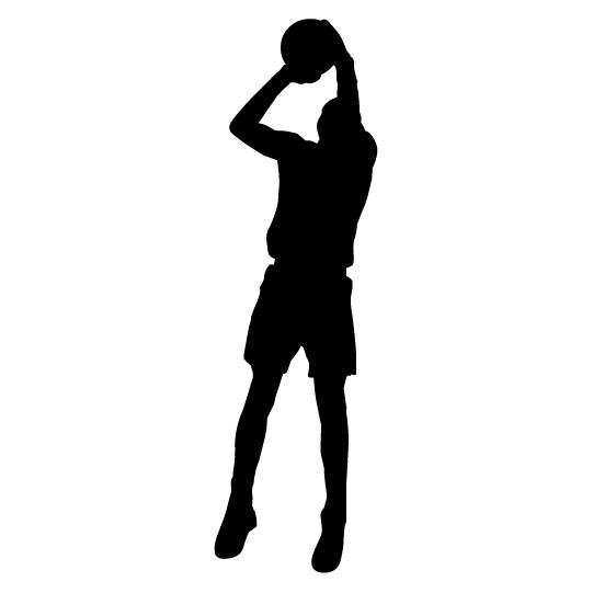 541x541 Basketball Jump Shot Clipart Player Silhouette Vector