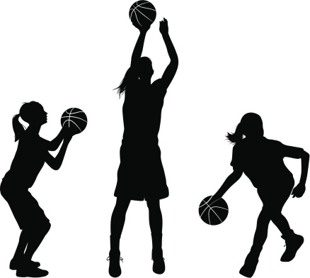 438x392 Female Basketball Shooting Silhouette Clipart