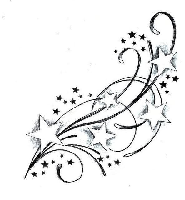 592x640 Black And White Star Tattoos Design