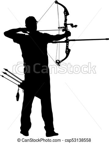 358x470 Silhouette Attractive Male Archer Bending A Bow And Aiming