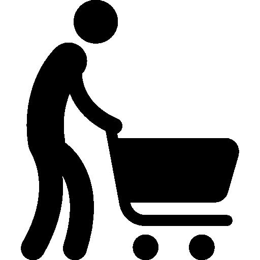 512x512 Silhouette Pushing Shopping Cart