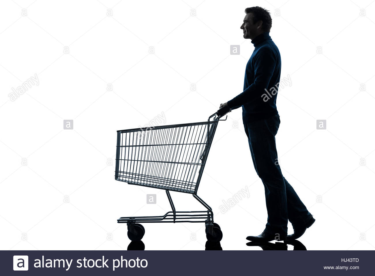 1300x957 One Caucasian Man With Empty Shopping Cart In Silhouette Studio