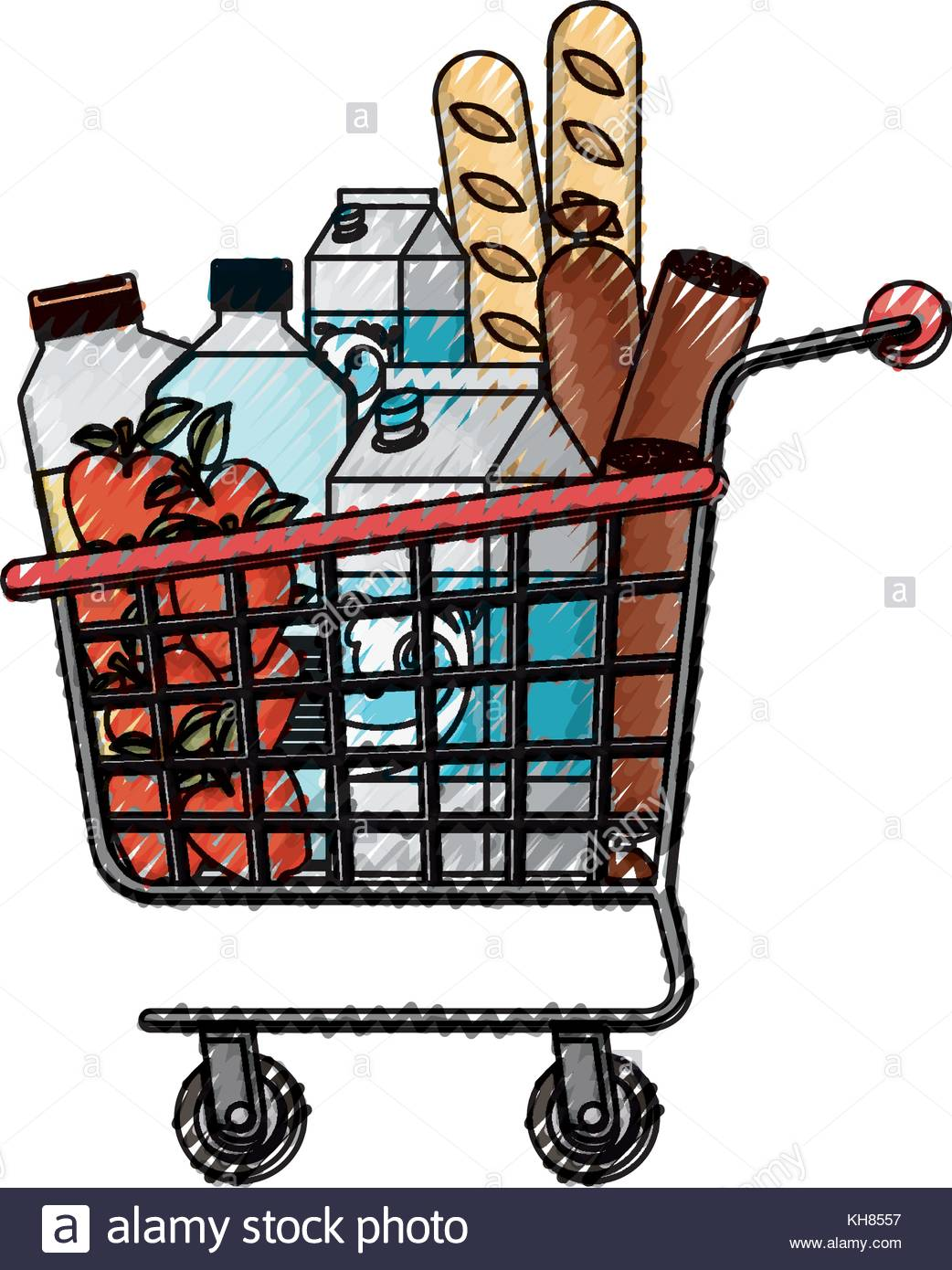 1042x1390 Supermarket Shopping Cart With Foods Sausage Bread Apples