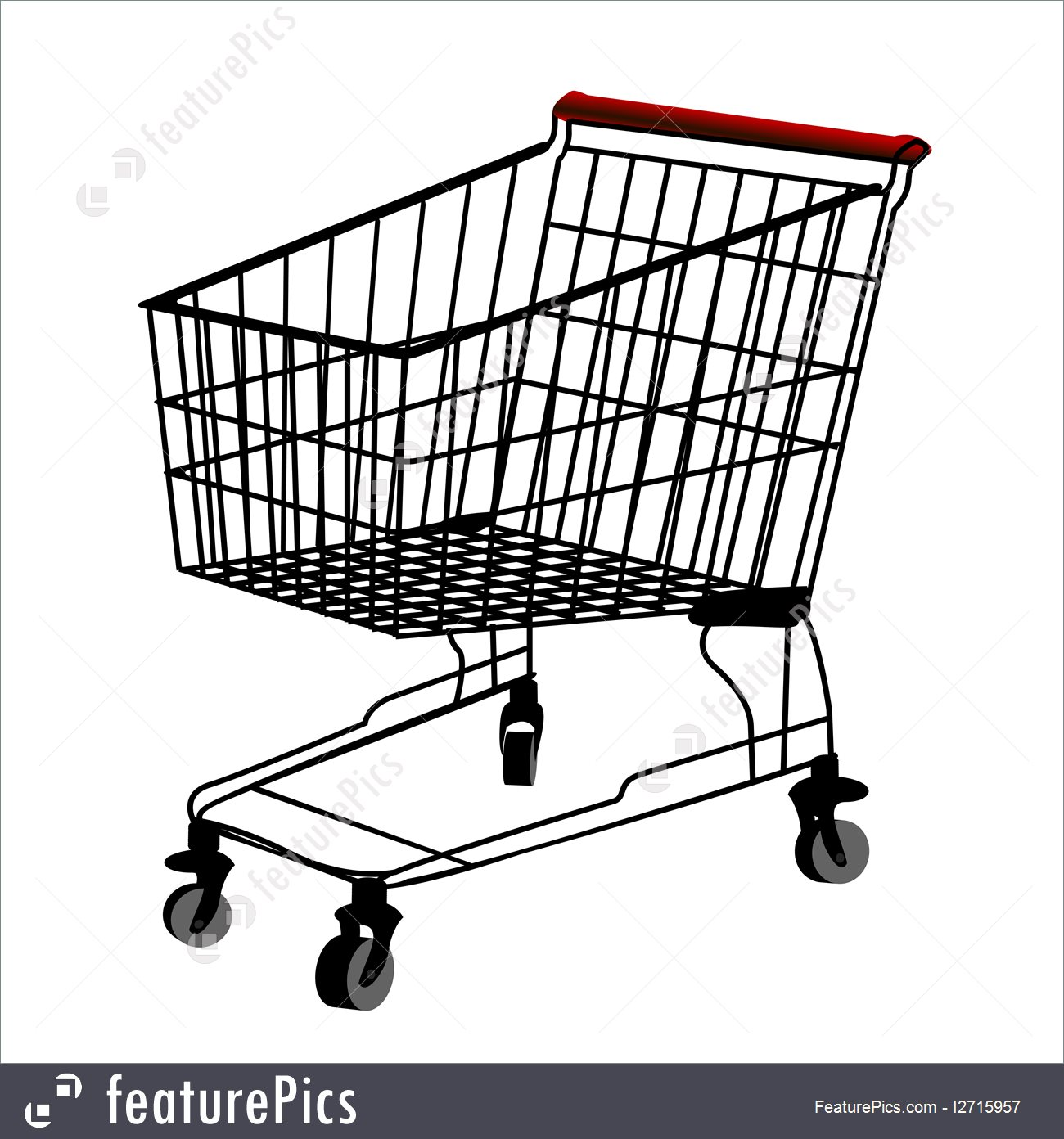 1300x1392 Illustration Of Shopping Trolley Silhouette