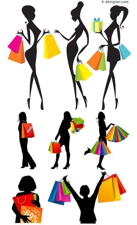 460x753 4 Designer Shopping Girl Silhouette Vector Material