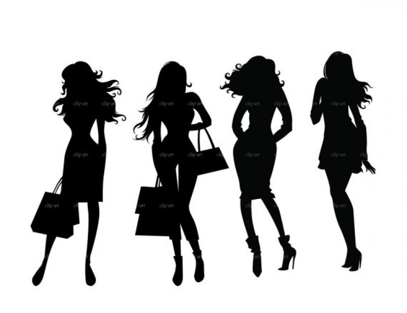 820x631 Fashion Shopping Girls Silhouette Digital Clipart Bestvector